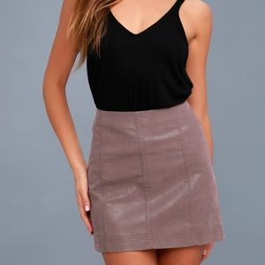 Mauve Vegan Suede Skirt